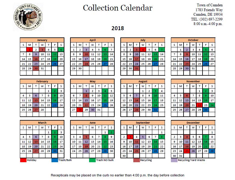 2018 trash schedule town of camden
